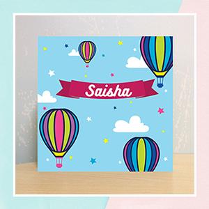 Colorfull Hotair Balloons Illuminated Name Canvas