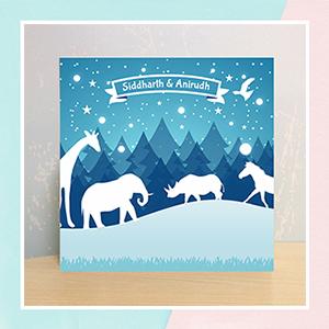 Mountains And Animals Illuminated Name Canvas