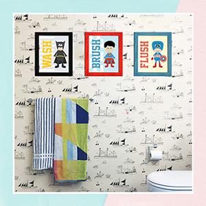 Even Super Heroes Have To Go To Washroom Bathroom Frames