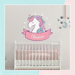 Unicorn Wall Name Sticker