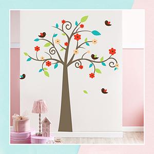 Swirl Tree Wall Stickers for Kids Room