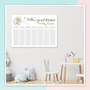 cute fox weekly planner for kids